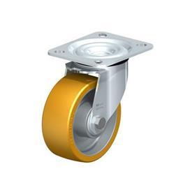 L-ALTH Rodajas giratorias de acero con banda Extrahane® de servicio medio, con placa de montaje  Type: K - Cojinete de bolas