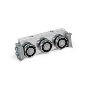 GN 2424 Carros de rodillos, aluminio o acero, medidas métricas, para rieles de guías de rodillo GN 2422 Tipo: R - Carro de rodillos radial, disposición lateral<br />Versión: U - con junta de fricción para riel de cojinetes flotantes (riel en U)