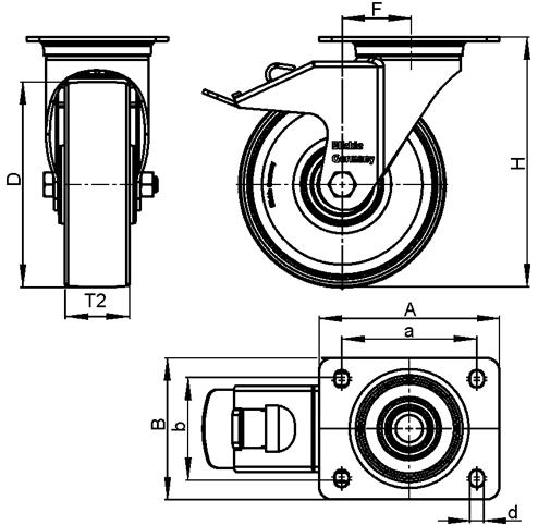 L-POEV Rodajas giratorias de acero con rueda de caucho de servicio medio, con placa de montaje boceto