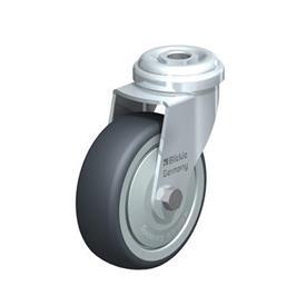 LRA-TPA Rodajas giratorias de acero de servicio ligero con ruedas de caucho termoplástico, y ajuste con agujero para perno  Type: K - Cojinete de bolas