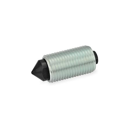 GN 513 Elementos de posicionamiento accionado por muelle de acero Tipo: K - Extremo puntiagudo