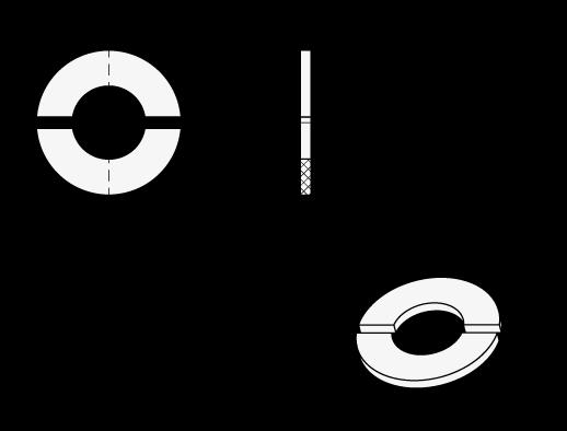 GN 7072.30 Arandelas amortiguadoras de elastómero, para collares de fijación partidos de dos piezas boceto