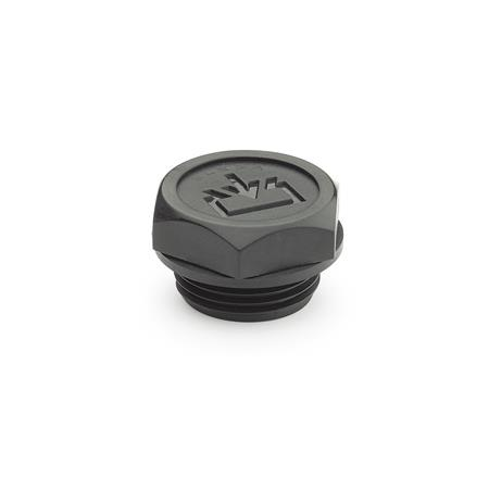 EN 747 Plastic Oil Fill Plugs, with or without Dipstick, with Exposed Seal Type: A - without dipstick Air vent drilling: 1 - without vent drilling