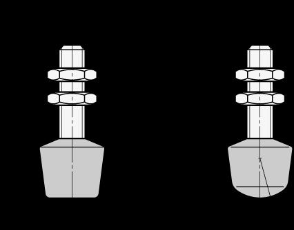 GN 708.1 Topes de apriete de abrazadera de palanca, de acero, con punta protectora de neopreno  boceto