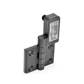 EN 239.4 Bisagras de plástico con interruptor integrado, con clavija conectora M12x1 Identificación: SR - Orificios para tornillo avellanado, interruptor a la derecha<br />Tipo: CS - Conector en la parte trasera