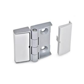 GN 238 Zinc Die-Cast Adjustable Alignment Hinges, With Cover Caps Type: NJ - Not adjustable<br />Colour: SR - Silver, RAL 9006, textured finish