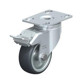 LKPA-TPA Rodajas giratorias de acero de servicio ligero, con ruedas de caucho termoplástico y soportes pesados Type: G-FI - Cojinete liso con freno «stop-fix»
