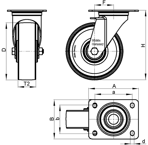 LI-PHN Zinc plated steel stamping Heat-Resistant Medium Duty Black Phenolic Wheel Swivel Casters, with Plate Mounting sketch