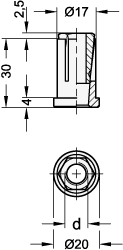 AN 352 Tube Expander Fittings For 20 mm OD x 1.5 mm Wall Thickness Round Tubing sketch