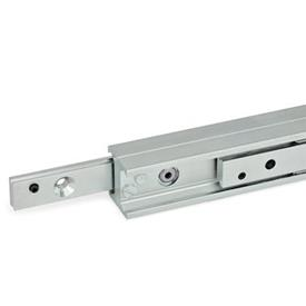 GN 2408 Metric Size, Steel, Telescopic Linear Slides, With H-Shaped Rail Type: DD - Runner with countersunk, on both sides