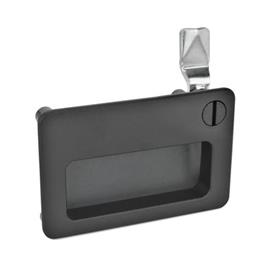 GN 115.10 Zinc Die-Cast Latches with Gripping Tray, Operation with Key, Not Lockable Type: SCH - Operation with slot<br />Finish: SW - Black, RAL 9005, textured finish<br />Kennziffer: 2 - Operation, in drawn position, at the top right