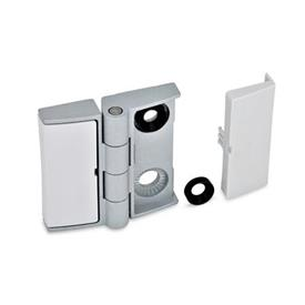 GN 238 Zinc Die-Cast Adjustable Alignment Hinges, With Cover Caps Type: BJ - Adjustable on both sides<br />Colour: SR - Silver, RAL 9006, textured finish