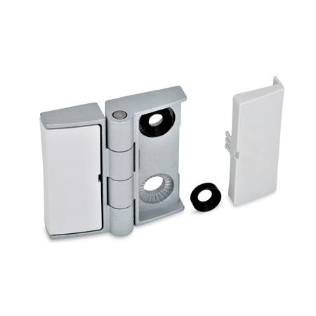 GN 238 Zinc Die-Cast Adjustable Alignment Hinges, with Cover Caps Type: BJ - Adjustable on both sides Color: SR - Silver, RAL 9006, textured finish