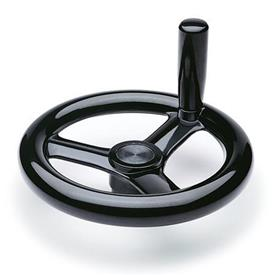 EN 950 Phenolic Plastic, Three Spoked Handwheels, with or without Revolving Handle, Blank Type
