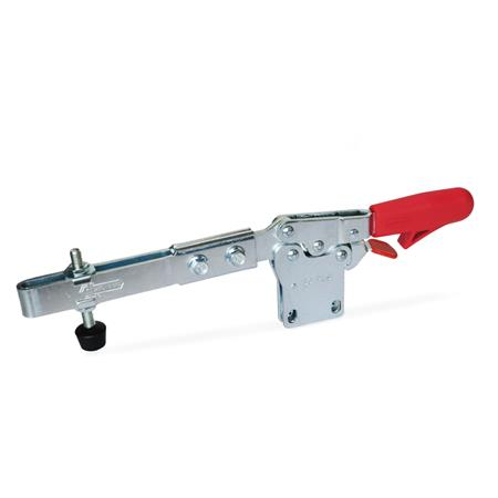 GN 820.4 Steel Extended Arm Horizontal Acting Toggle Clamps, with Safety Hook, with Vertical Mounting Base Type: VLC - Clamping arm extended, with slotted hole, two flanged washers and GN 708.1 spindle assembly