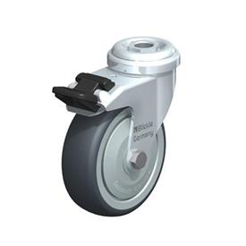 LRA-TPA Steel Light Duty Swivel Casters with Thermoplastic Rubber Wheels, and Bolt Hole Fitting  Type: K-FI - Ball Bearing with Stop-Fix Brake
