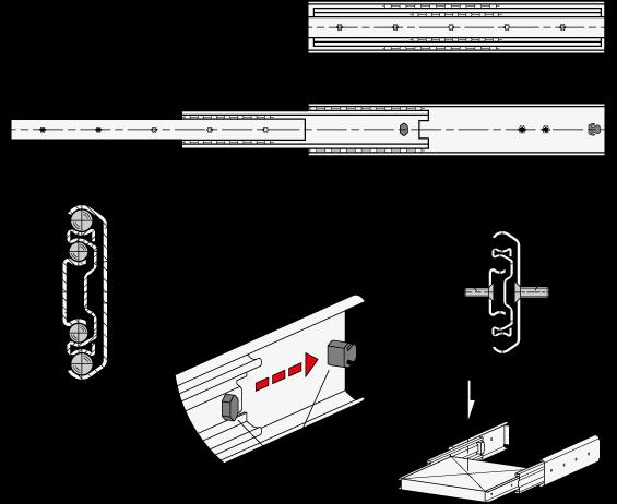 GN 1430 Guías telescópicas de acero, con extensión completa, capacidad de carga de hasta 477 lbf boceto