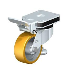 HRLK-ALTH Steel Heavy Duty Extrathane® Treaded Leveling Caster, with Swivel Head, with Plate Mounting