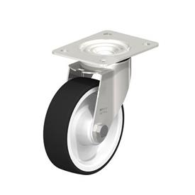 LEX-POTH Stainless Steel Swivel Caster with Polyurethane Treaded Wheel, with Plate Mounting Type: XR - Stainless Steel Roller Bearing