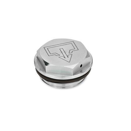 GN 742 Tapones de carga / drenaje, de aluminio, con símbolos de carga y drenaje «DIN», sello Viton Tipo: AS - con símbolo de drenaje DIN, sin mecanizar Identificación núm.: 2 - con perforación para ventilación