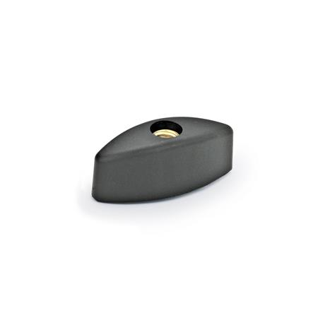 EN 532 Tuercas de mariposa de plástico tecnopolímero, con inserto ciego o pasante roscado de latón Tipo: D - Con orificio pasante roscado