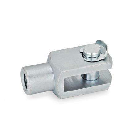 GN 751 Articulación de horquilla de acero, con anillo de seguridad o collarín de aseguramiento a presión Material: ST - Acero Tipo: KL - Pasador con anillo de montaje lateral