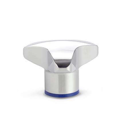 GN 5445 Perillas de tres lóbulos de acero inoxidable, diseño higiénico, con orificio ciego roscado Acabado: PL - Acabado pulido (Ra < 0.8 µm) Material de anillo de sellado: H - H-NBR