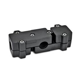 GN 195 Aluminum, Multi-Part Assembly, T-Angle Connector Clamps Bore d<sub>1</sub>: B 40<br />Identification No.: 2 - with 6 Stainless Steel-clamping screws DIN 912<br />Finish: SW - Black, RAL 9005, textured finish