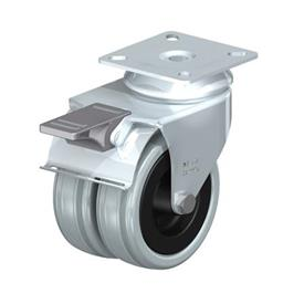 LDA-VPA Zinc Plated Steel Light-Medium Duty Gray Rubber Twin Wheel Swivel Casters with Plate Mounting Type: G-FI - Plain Bearing with Stop-Fix Brake