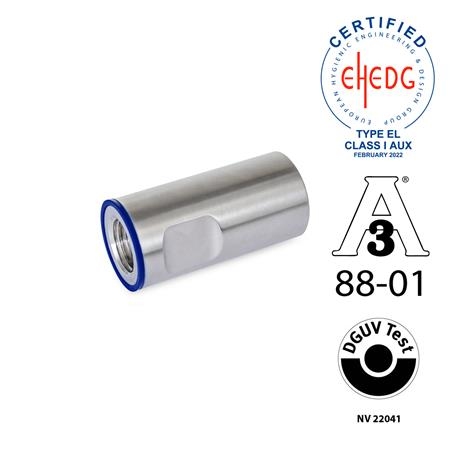 GN 20.1 Stainless Steel Protective End Caps, Hygienic Design Sealing ring material: H - H-NBR