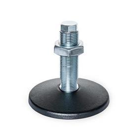 GN 36 Pieds de machine en acier, type de goujon fileté, sans trou de montage Type (Plaque de base): A - Sans tampon en caoutchouc