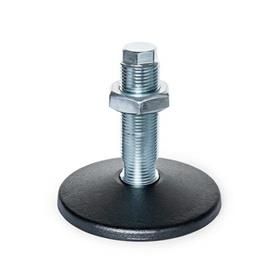 GN 36 Steel Machine Feet, Threaded Stud Type, without Mounting Hole Type (Base plate): A - Without rubber pad