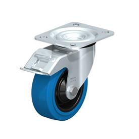 L-POEV Steel Medium Duty Rubber Wheel Swivel Casters, with Plate Mounting Type: R-FI-SB - Roller Bearing with Stop-Fix Brake, with Blue Wheel