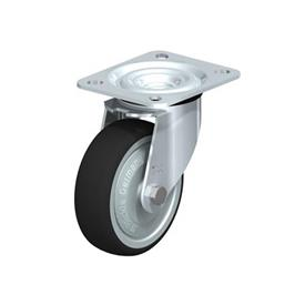 L-PATH Zinc plated steel stamping Medium Duty Gray Rubber Wheel Swivel Casters, with Plate Mounting  Type: K-FK - Ball Bearing with Thread Guard