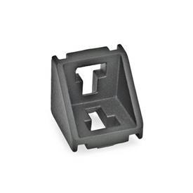 GN 960 Escuadras de aluminio, para sistemas de perfiles de aluminio de 30/40/45 mm Tipo de pieza angular: A - sin juego de montaje, sin cubierta<br />Acabado: SW - Negro, RAL 9005, acabado texturizado