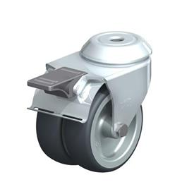 LMDA-TPA Steel, Light Duty Twin Wheel Swivel Casters with Thermoplastic Rubber Wheels and Bolt Hole Fitting, Standard Bracket Series  Type: G-FI - Plain Bearing with Stop-Fix Brake