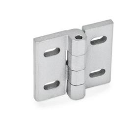 GN 235 Zinc Die-Cast Hinges, Adjustable Material: ZD - Zinc die-cast<br />Type: B - Horizontal slots<br />Finish: SR - Silver, RAL 9006, textured finish