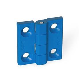 EN 237.1 Bisagras de plástico que cumplen con la FDA, detectables, con orificios avellanados Tipo: A - 2x2 orificios para tornillos avellanados<br />Material / acabado: VDB - Detectable visualmente