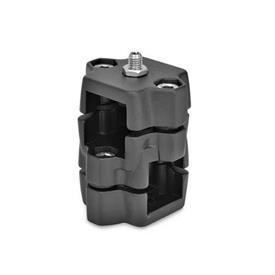 GN 134.7 Abrazaderas para conectores de dos vías de aluminio, con opción de posicionamiento Tipo: D - Con posicionador de bola<br />Color: SW - Negro, RAL 9005, acabado texturizado