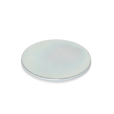 GN 70.1 Discos auto-adhesivos de acero, para imanes de retención Acabado: ZB - Zincado, acabado pasivado azul
