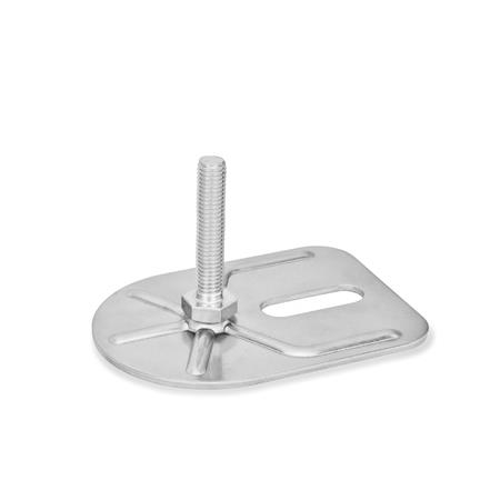 GN 43 Inch Thread, Stainless Steel Leveling Feet, Tapped Socket or Threaded Stud Type, with Slotted Mounting Hole, Rectangular Shape Type (Base): E0 - Without rubber pad, with 1 slotted hole Version (Stud / Socket): S - Without nut, external hexagon at the bottom