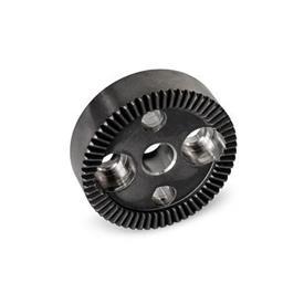 GN 187.4 Placas de bloqueo dentadas de acero Tipo: B - Con agujero d<sub>4</sub> en el centro, con dos agujeros avellanados para tornillos de cabeza