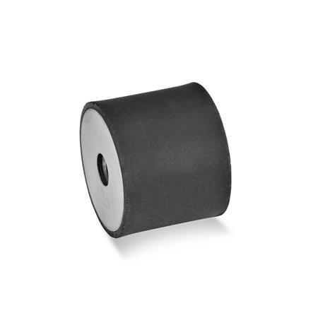 GN 451 Soportes aisladores de vibración de caucho, tipo cilíndrico, con componentes de acero inoxidable Tipo: EE - Con 2 agujeros roscados