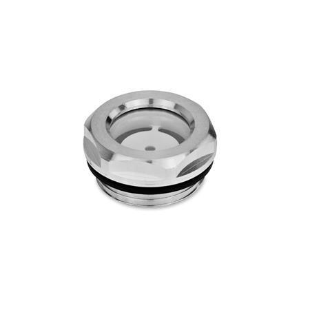 GN 743 Mirillas de líquido, de aluminio, con vidrio flotado, resistente hasta 212°F Tipo: A - Con reflector, acabado liso