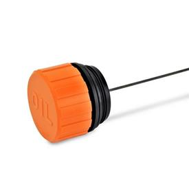 EN 663 Plastic Breather Caps, with or without Dipstick, with or without Splash Guards Pipe thread d<sub>2</sub>: G 2<br />Type: B - With dipstick