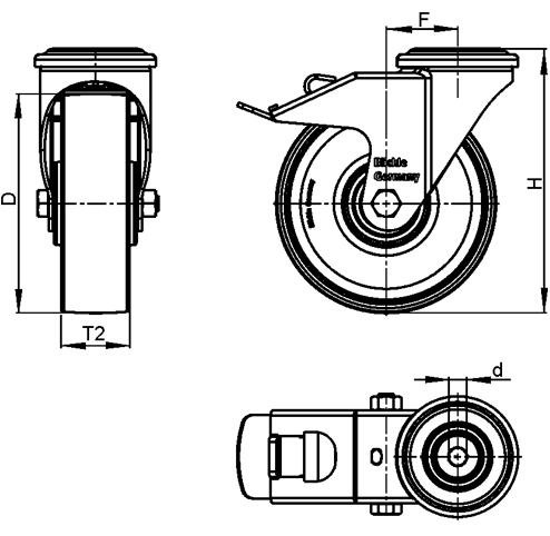 LWG-TPA Nylon Plastic WAVE Synthetic Swivel Casters, with Thermoplastic Rubber Wheels and Bolt Hole Fitting, Steel Components sketch