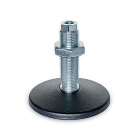GN 37 Pieds de machine en acier, type de goujon fileté, avec trou de montage Type (Plaque de base): A - Sans tampon en caoutchouc