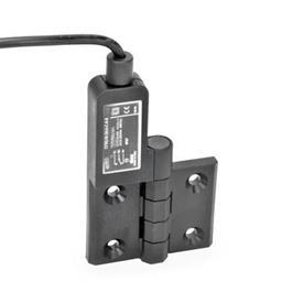 EN 239.4 Charnières plastique avec contacteur intégré, avec câble de raccordement Identification: SL - Alésages pour vis fraisée, commutateur gauche<br />Type: AK - Câble en haut