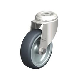 LKRXA-TPA Stainless Steel Light Duty Swivel Casters with Thermoplastic Rubber Wheels and Bolt Hole Fitting, Heavy Bracket Series  Type: G - Plain Bearing