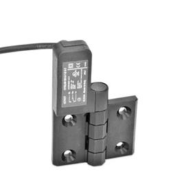 EN 239.4 Technopolymer Plastic Hinges with Integrated Switch, with Connector Cable Identification: SL - Bores for contersunk screw, switch left<br />Type: CK - Cable at the backside